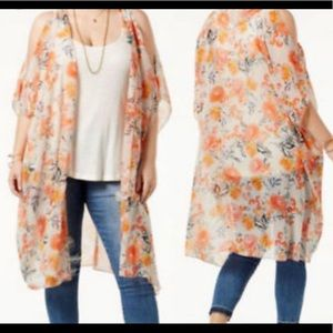 American Rag Cold kimono Floral cover up orange S